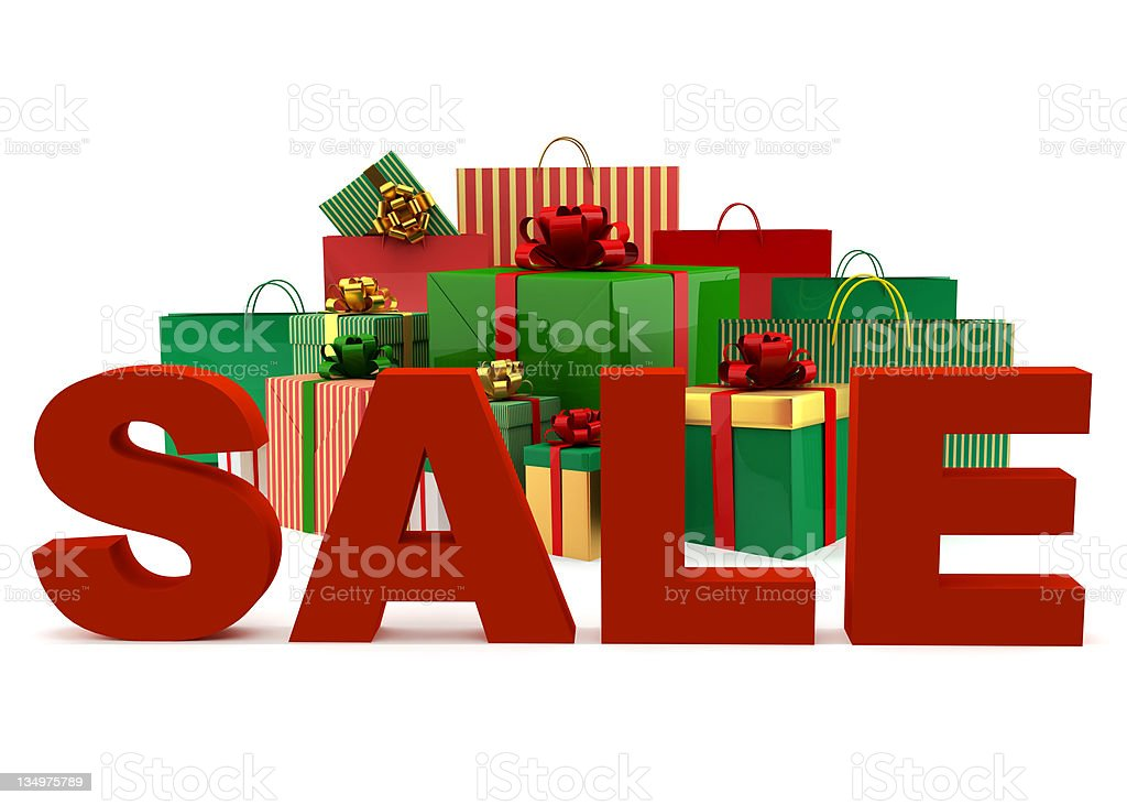 Christmas bags and boxes with a word Sale royalty-free stock photo