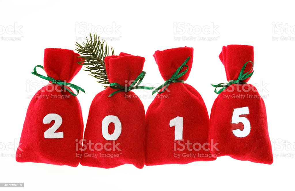 Christmas bags (year 2015) isolated on white stock photo