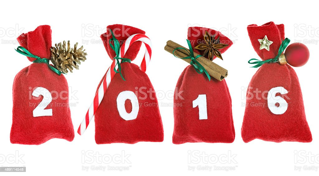 Christmas bags (year 2016) isolated on white stock photo