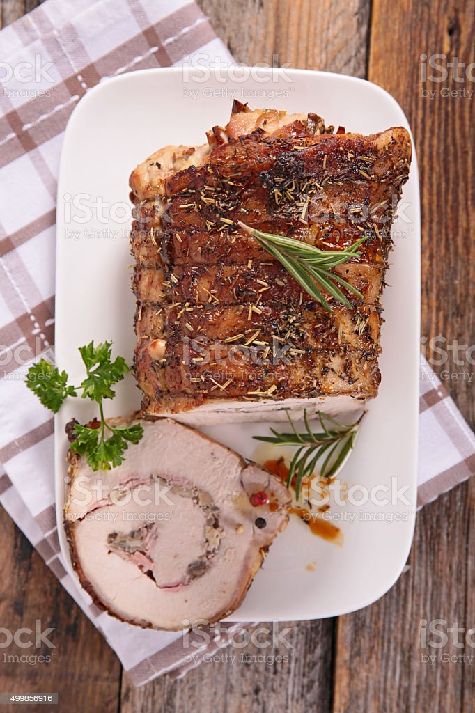 christmas baked meat stock photo