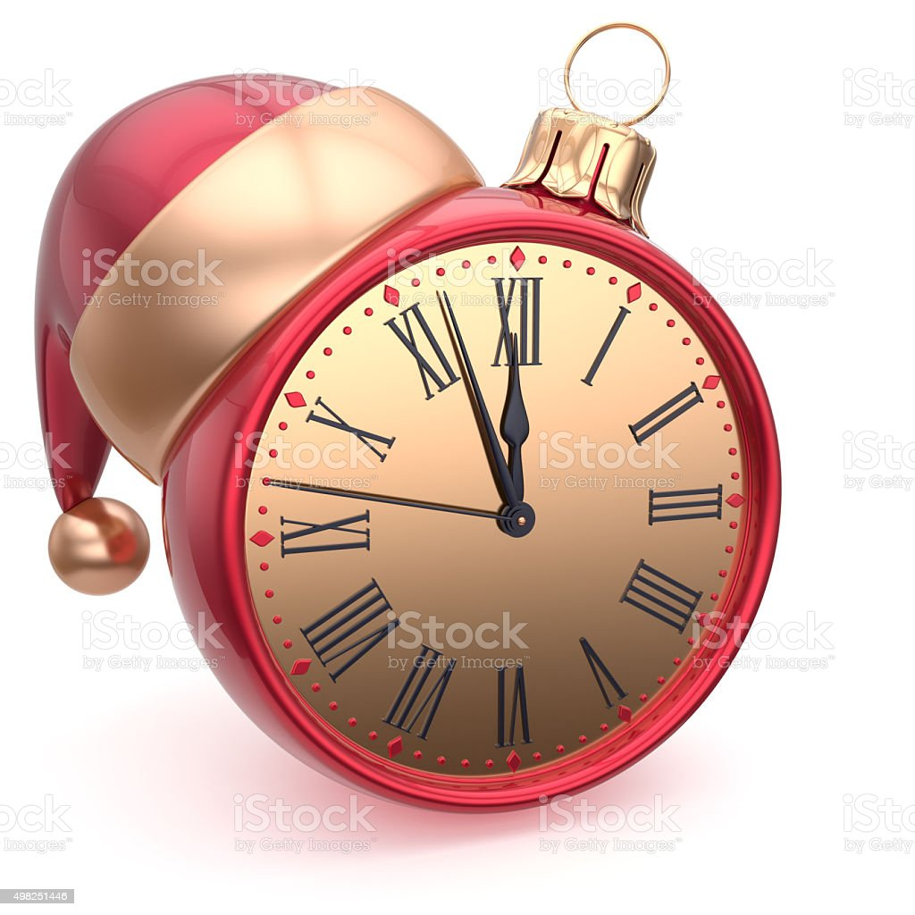 Christmas ball alarm clock New Year's Eve time Santa hat stock photo
