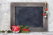 Christmas ball and chalkboard