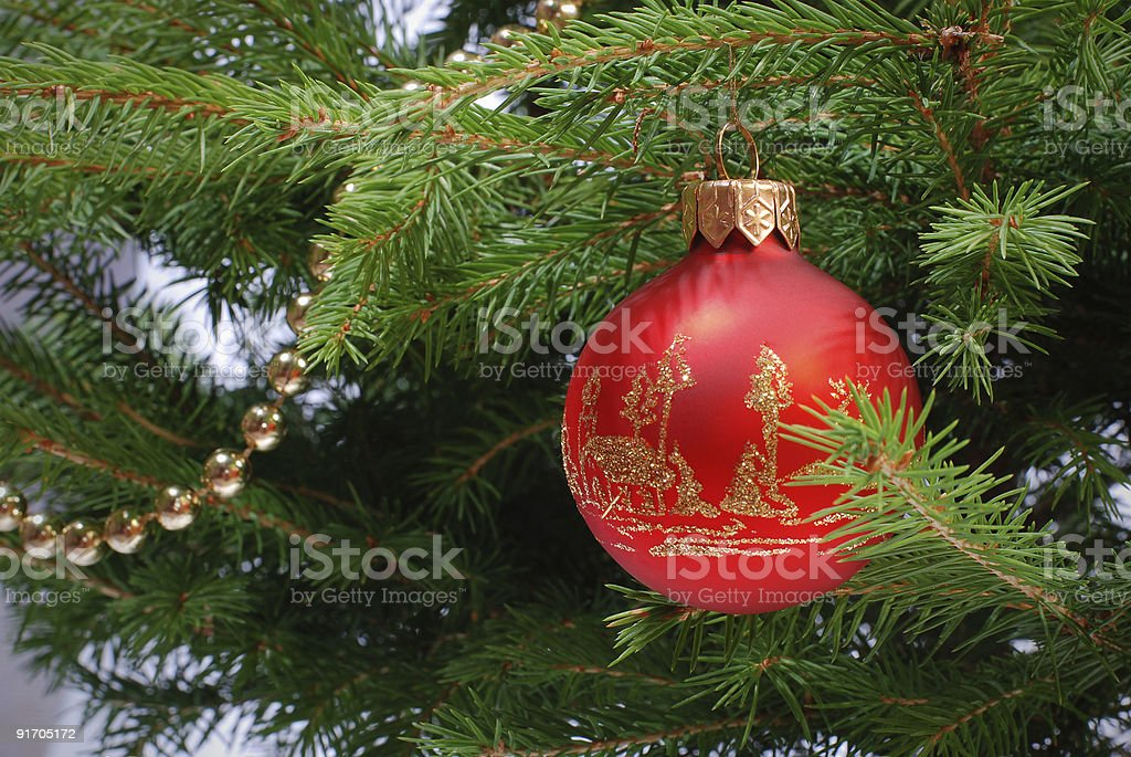 Christmas ball and golden beads on the fir tree royalty-free stock photo