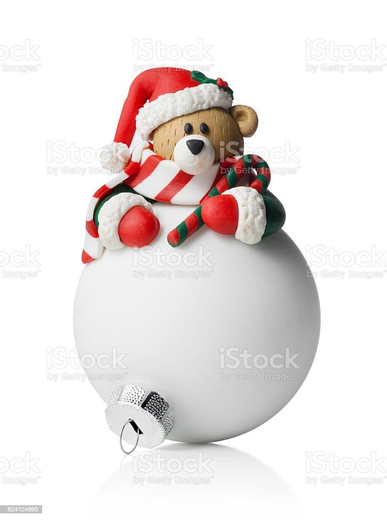 Christmas ball. Bear Santa Claus. stock photo
