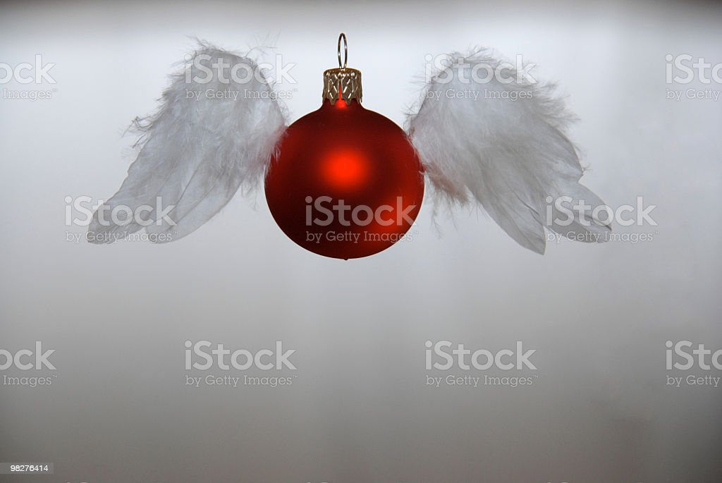 Christmas ball being disguised as an angel stock photo