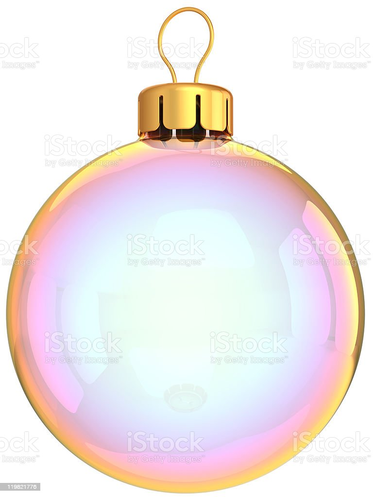 Christmas ball classic white Happy New Year bauble translucent royalty-free stock photo