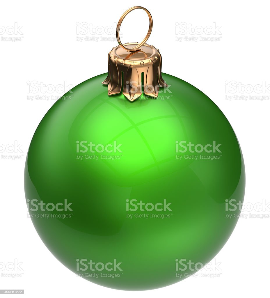 Christmas ball green New Year's Eve bauble Xmas decoration stock photo
