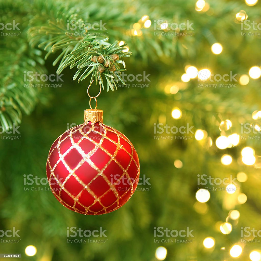 Christmas Ball Hanging on a Christmas Tree stock photo