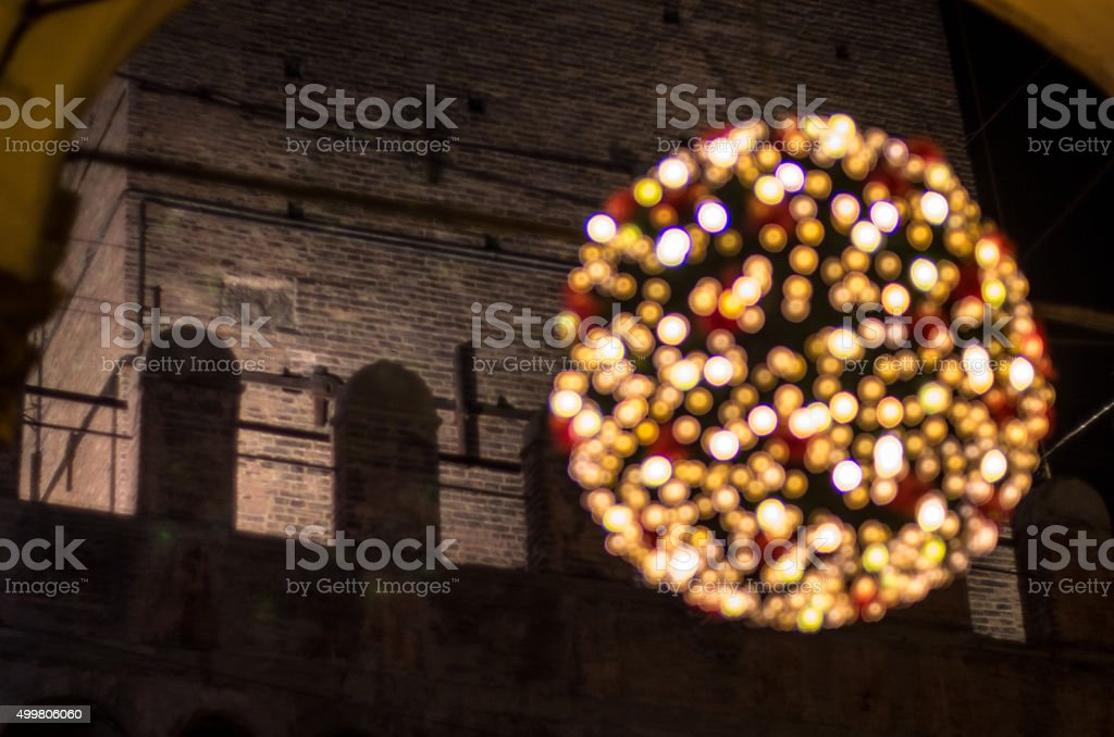 Christmas Ball in Bologna night stock photo