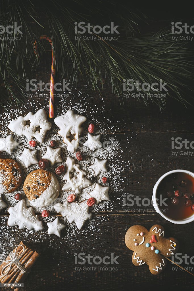 Christmas ball made by  cookies  with tea and gingerbread man stock photo