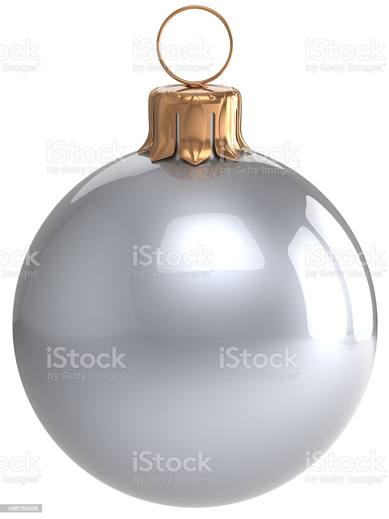 Christmas ball New Year's Eve bauble white Xmas decoration stock photo
