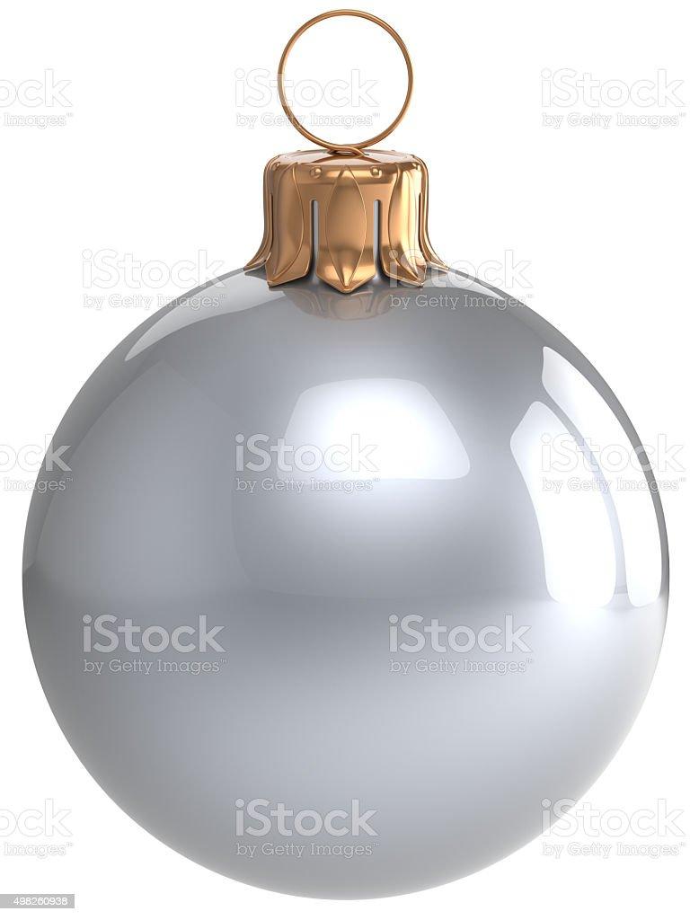 Christmas ball New Year's Eve bauble white Xmas decoration stock photo