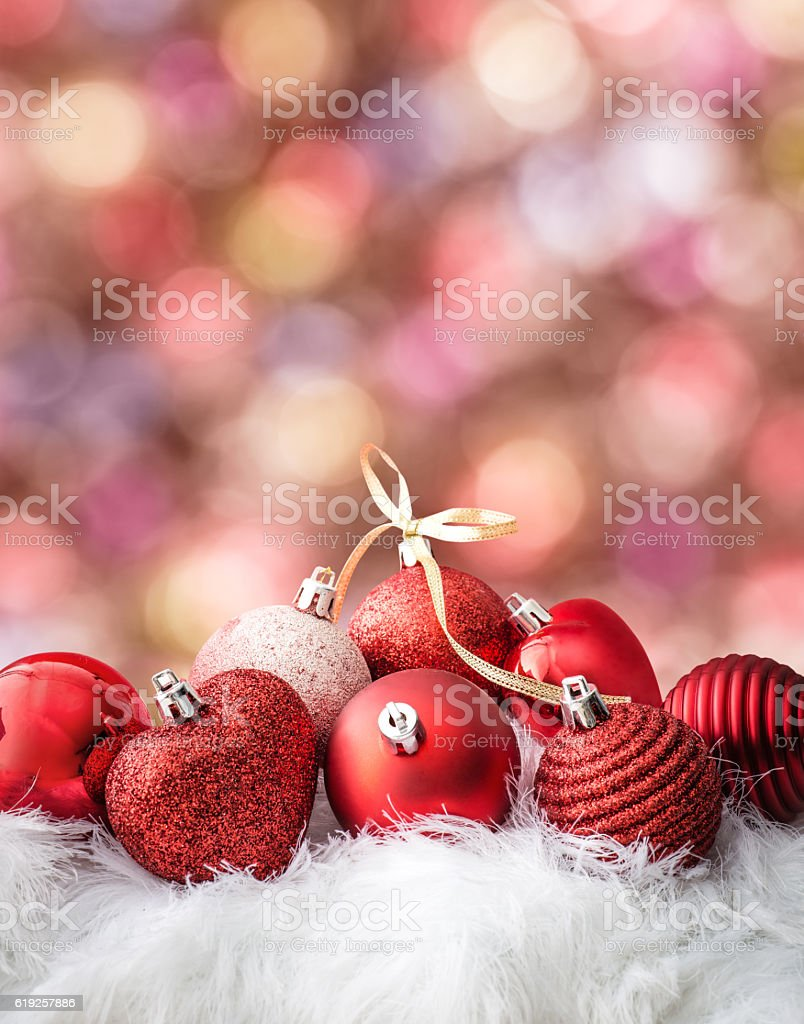 Christmas ball on abstract light background stock photo