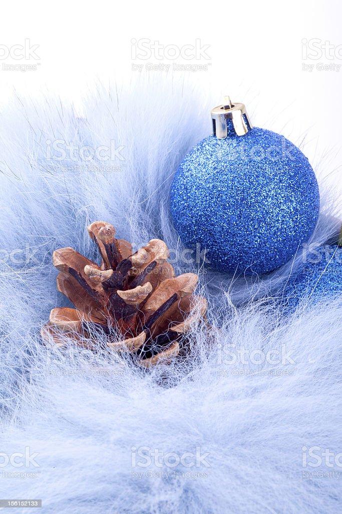 christmas ball on blue fur royalty-free stock photo