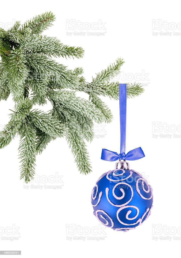 Christmas ball on the tree on white background stock photo