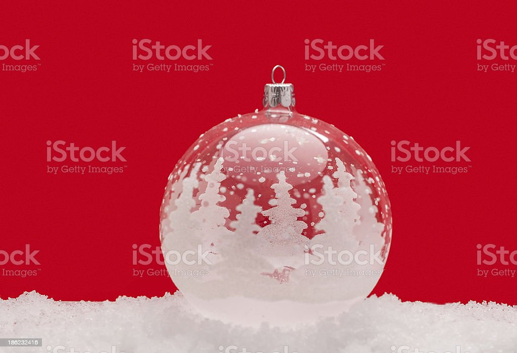 Christmas ball ornament in snow royalty-free stock photo