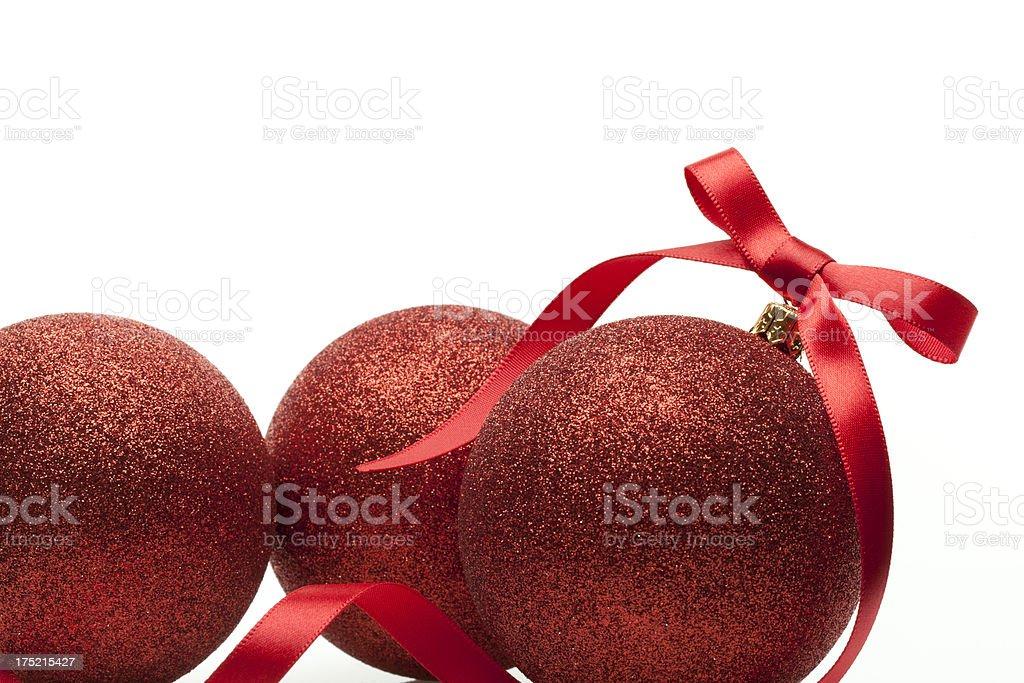 Christmas Ball & Red Ribbon stock photo