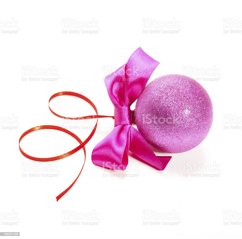 Christmas ball with bow isolated on white background. royalty-free stock photo