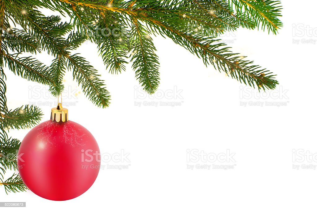 Christmas Ball With Fir Branch stock photo