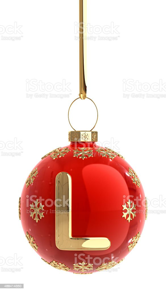 Christmas Ball With Letter L stock photo