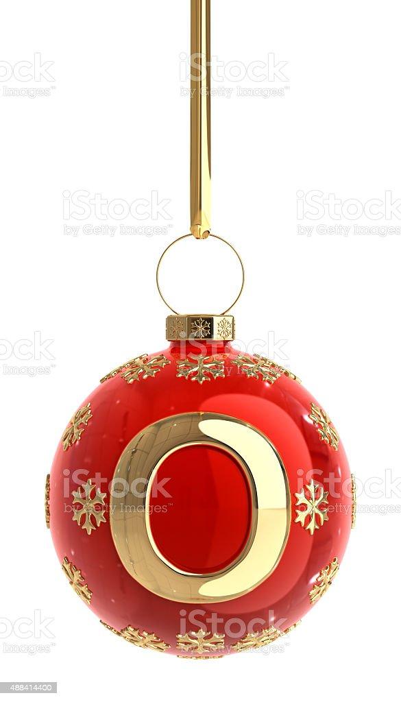 Christmas Ball With Letter O stock photo