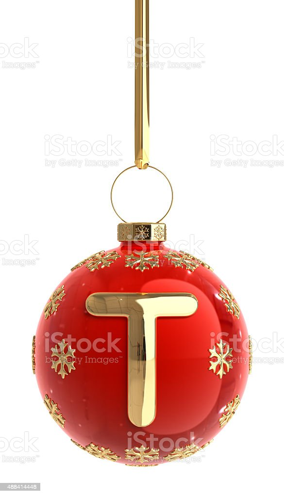 Christmas Ball With Letter T stock photo