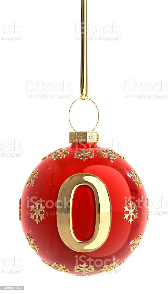 Christmas Ball With Number 0 stock photo