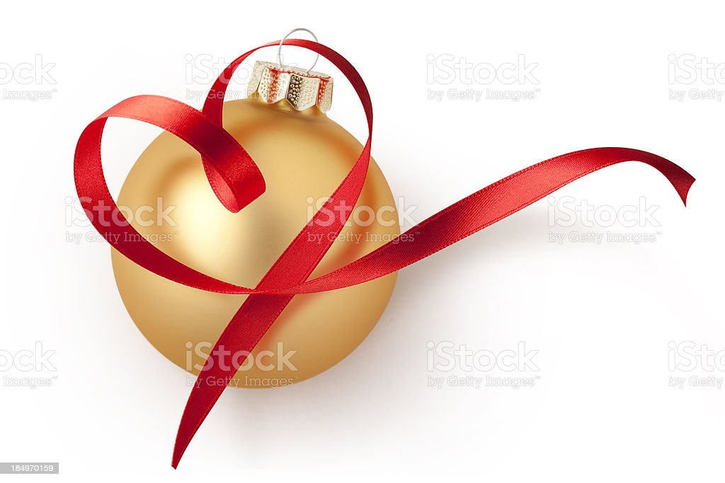 Christmas ball with red ribbon in heart shape stock photo
