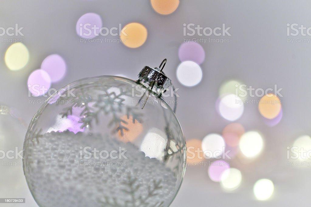 Christmas ball with snow macro royalty-free stock photo