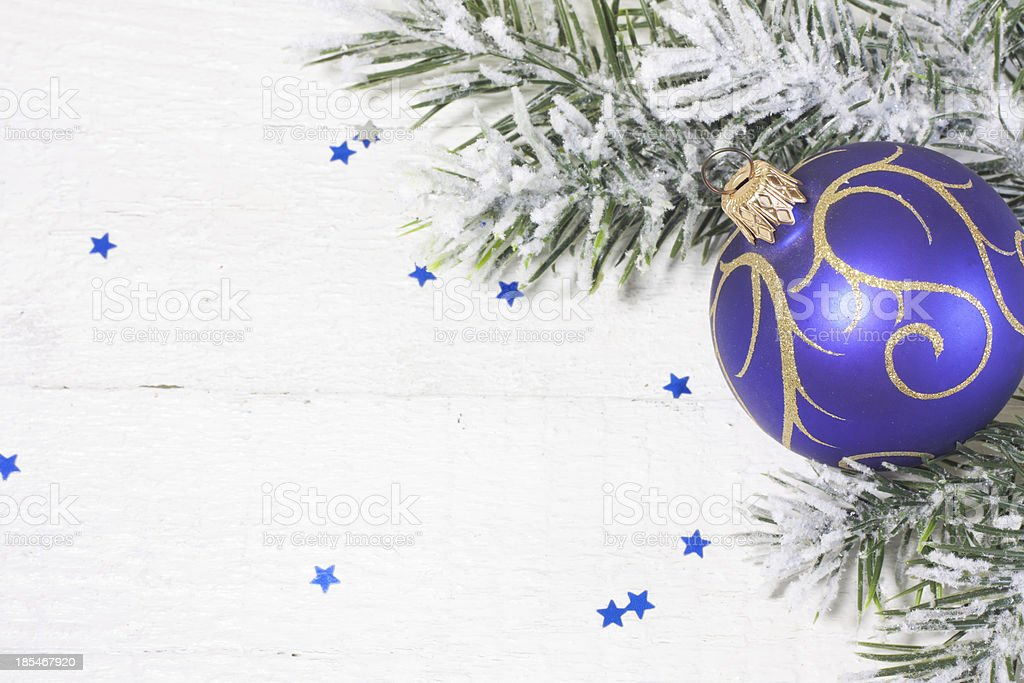 Christmas ball with tree on white boards royalty-free stock photo