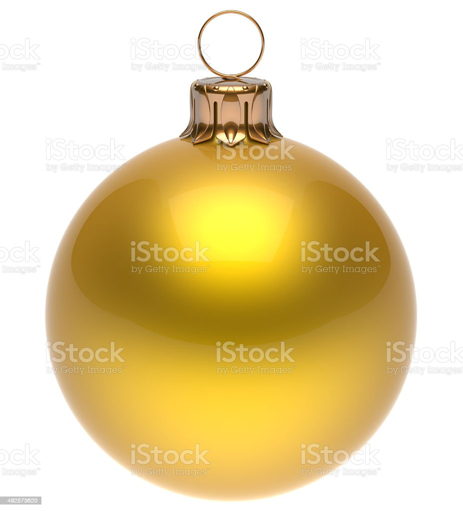 Christmas ball yellow New Year's Eve bauble winter decoration stock photo