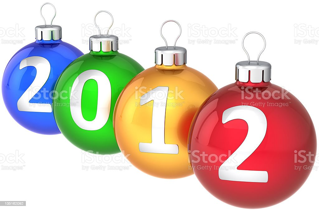 Christmas balls 2012 New Year baubles multicolored royalty-free stock photo