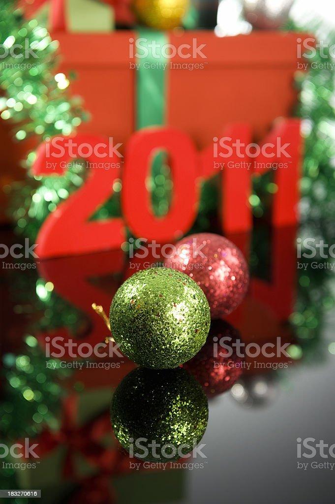 Christmas Balls and 2011 royalty-free stock photo