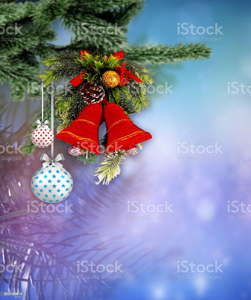 Christmas balls and Christmas bell with a blurred background. vector art illustration