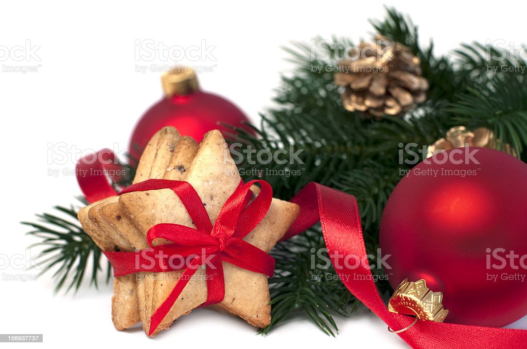 Boules de Noël et des biscuits photo libre de droits