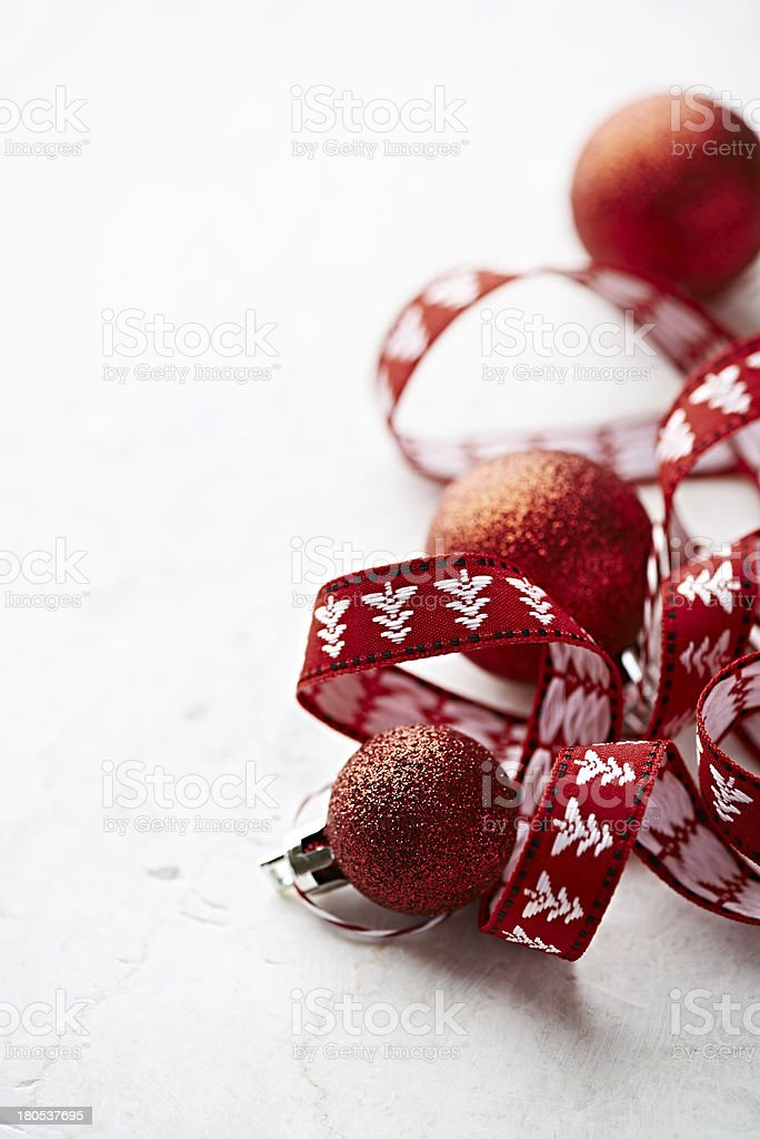 Christmas balls and gift ribbon royalty-free stock photo