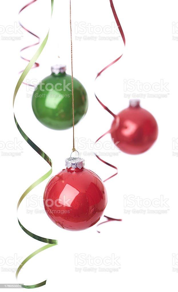 Christmas Balls and ribbons stock photo