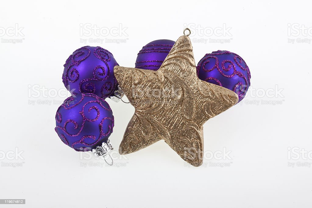 Bolas de Natal e estrelas foto de stock royalty-free
