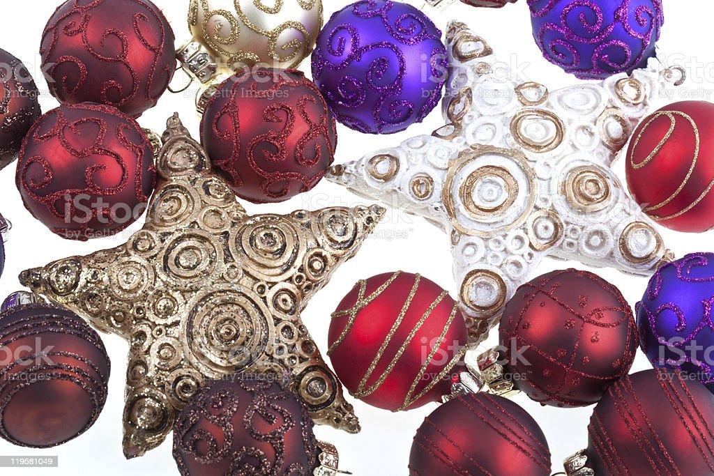 Bolas de Natal e estrelas. foto de stock royalty-free