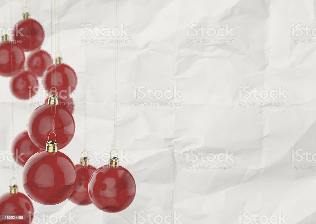 Christmas balls as vintage style on crumpled paper royalty-free stock photo