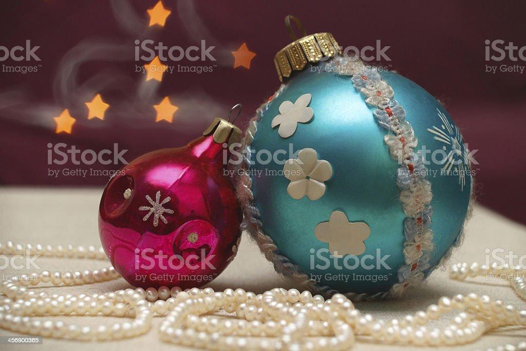 Christmas balls, cookies and lights stock photo