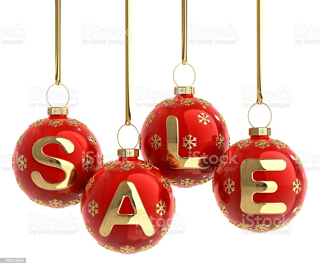 A Christmas balls hanging forming a word SALE stock photo