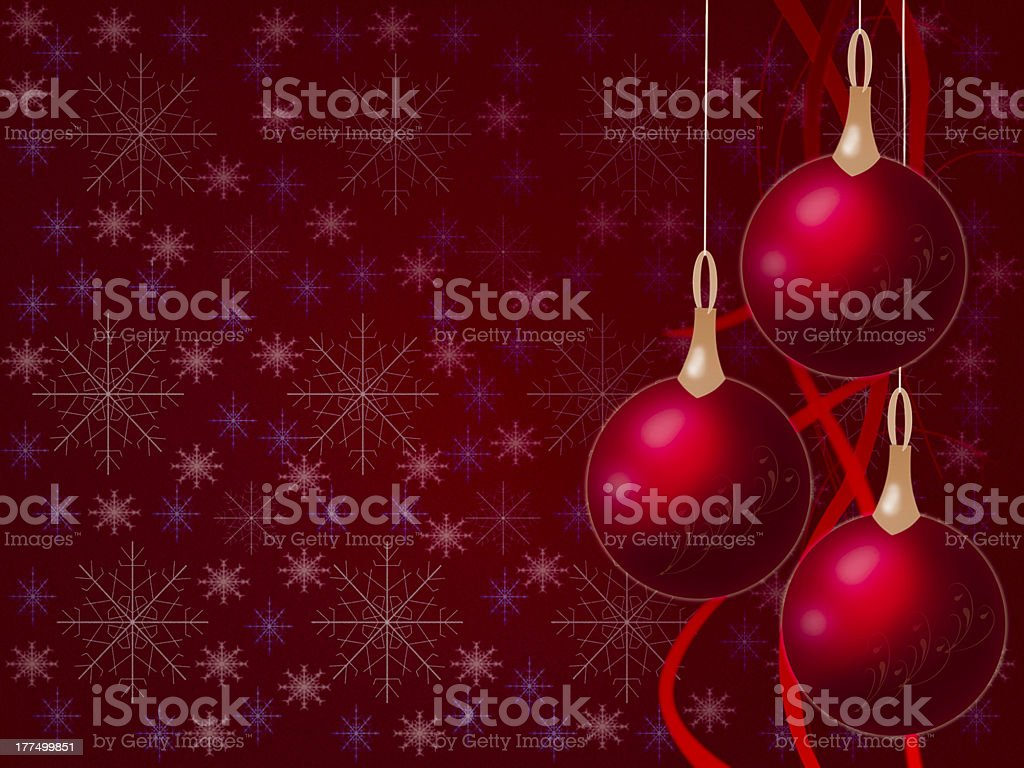 Christmas balls hanging with tapes on red background royalty-free stock photo