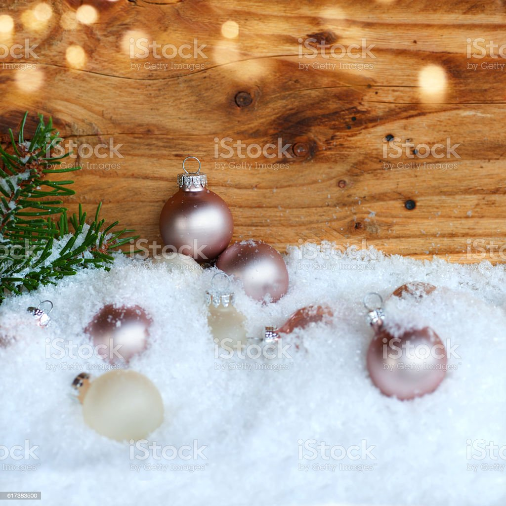 Christmas balls in the snow stock photo