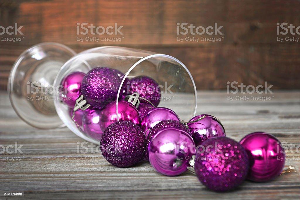 Christmas balls in wineglass stock photo