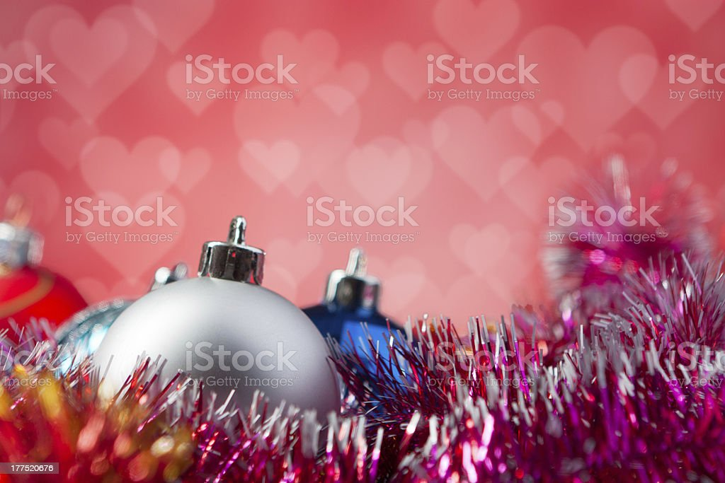 Christmas balls isolated on red background royalty-free stock photo