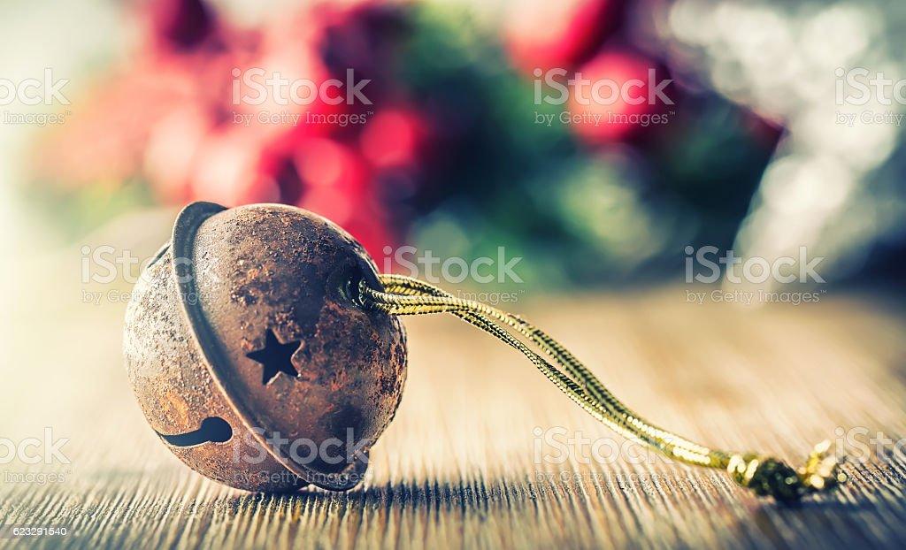 Christmas balls jingle bells stars decorations. Xmas time stock photo