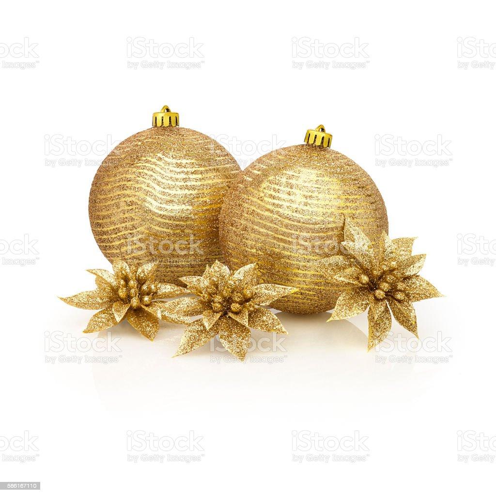 Christmas balls of golden spangles stock photo