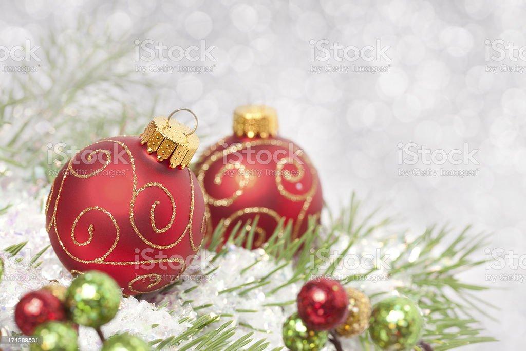 Christmas Balls on Pine stock photo