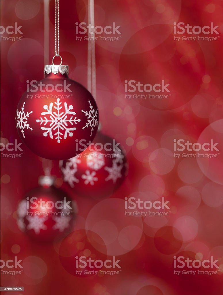 Christmas balls on red (VT) royalty-free stock photo